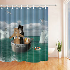 Romantic Cat On Ocean Fabric Shower Curtain Bathroom & 71*71inches With Hooks