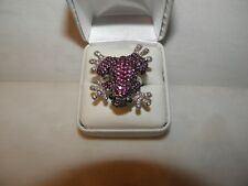 AUSTRIAN CRYSTAL FROG TOAD RING STERLING SILVER SETTING ADORABLE!!!  NEW 8.5