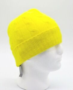 New $178 Polo Ralph Lauren 100% Cashmere Neon Yellow Cable Knit Beanie Hat 1size