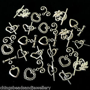 22 Assorted Tibetan Slilver Heart Toggle Clasps Silver Plated Clasps