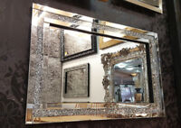 Large Crushed Diamond Crystal Glass Silver Frame Bevelled Wall Mirror 120x80cm