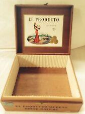 Vintage Wooden Cigar Box- El Producto- Rare- Partial Label