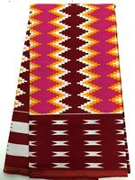 African KENTE Prints /African Print Fabric/African Clothing/PINK, RED, YELLOW