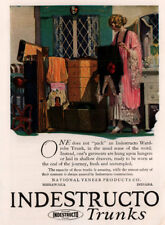1920 D AD  INDESTRUCTO TRUNKS BEAUTIFUL WOMAN NEGLIGEE PACKING LOOMIS ART