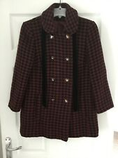 Topshop ladies black and burgundy wool blend Coat with bow detail size 10
