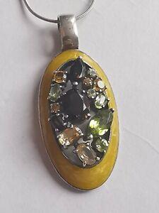 QVC Enamel Sterling Silver Pendant Necklace, GENUINE Gemstone