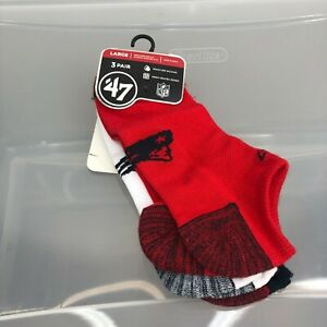 New England Patriots Socks '47 Brand Large Red 3-Pair Men's 9-13 Women's 10-12