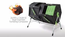 210L Twin Chamber Tumbler Rotating Compost Bin Composter Garden Waste Recycle
