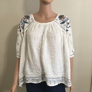Knox rose Women's size XL Ivory embroidered Floral Boho tunic blouse New Shirt