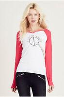 True Religion Women's Peace Henley Long Sleeve Tee T-Shirt in White/Raspberry