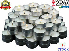 White Unscented Long Burning Tea Light Candles Bulk 125 Pack Paraffin Smokeless.