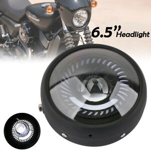 Motorcycle 6.5 Inch LED Headlight Spiral White Side Mount for Cafe Racer Bobber