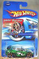 2006 Hot Wheels #143 Faster Than Ever TRAK-TUNE Green w/Gold FTE Spoke Wheels