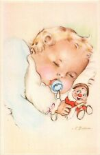 Artist signed postcard f. Ballus ? sleeping baby with pacifier and dwarf doll
