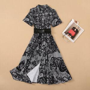 2021 Women Designer Inspired  Snake Print Shirt Black Long Shirt Dress Belted