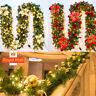 2.7M Christmas Wreath Decor LED Garland String Fairy Lights Fireplace Tree Wreat