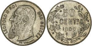 Belgium: 50 Centimes silver 1909 (French legend) - aUNC