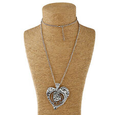 Tibetan Silver Long Chain Large Heart Charms Pendant Adjustable Sweater Necklace