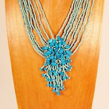 "16"" Turquoise Color Stone Chip Cluster Handmade Seed Bead Necklace"