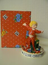 Enesco Mary Engelbreit I Love Christmas Figurine Child in Pajamas With Toys