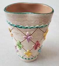 Vintage MCM Italian Irregular Shaped Vase with Fleur de Lis Signed 710/306-A