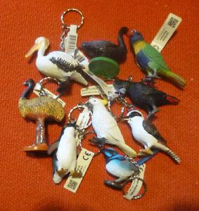 AUSTRALIAN ANIMAL BIRDS COLLECTION SET of 9 KEYCHAIN KEYRINGS incl Lorikeet Emu