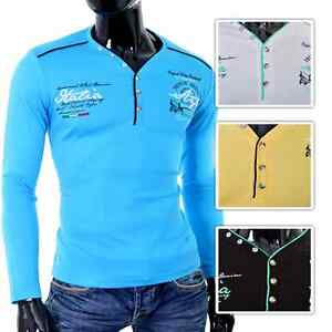 Mens Long sleeve Jumper Stretchy Cotton Metal Clip Buttons Embrioded Slim Fit