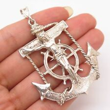 Vtg 925 Sterling Silver Crucifix & Anchor Design Large Religous Pendant