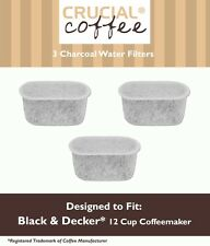 3 Black & Decker Charcoal Water Filters Fit 12 Cup Coffee Machines # CM1000WF