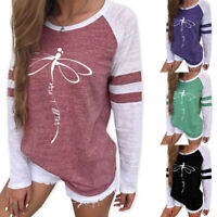 Women Dragonfly Print Sweatshirt Casual Round Neck Long Sleeve Blouse Tops Tee
