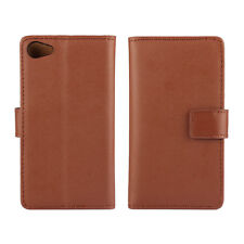 Brown Genuine Leather Business Wallet Flip Case Cover For Sony Xperia Z5 Premium