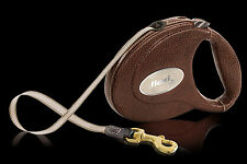 Flexi LUXURY Goatskin LEATHER Brown Retractable Tape 5m Leash Dog upto 25kg Gift