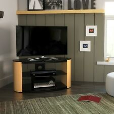"Oak TV Stand Wood Effect Oval with Black Glass Shelves for TVs 28"" 32"" 37"" 40"""