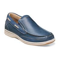 Mens Florsheim Lakeside Slip On Boat Shoe Saddle Indigo Leather Casual 13158-401