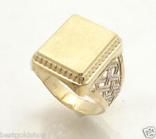 Size 11 Men's Engravable Rectangular Signet Ring Real Solid 10K Yellow Gold