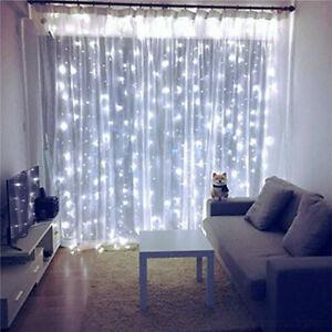 USB Curtain Fairy String Hanging Backdrop Wall Lamp Wedding Xmas Party Lights