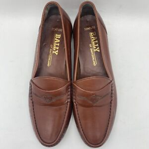 Bally Of Switzerland Men's Pompano Apron Toe Penny Loafer 13538 Brown US 9.5 W