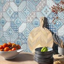 Botanic Moroccan Tile Wallpaper Blue White Paste The Wall Luxury Vinyl Erismann
