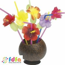 MIXED COLOURS HAWAIIAN STRAWS WITH FLOWERS - luau fancy dress party decorations