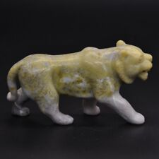 """3.4"""" Tiger Statue Healing Crystal Natural Yellow Serpentine Stone Carving Decor"""