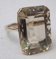 Vintage Chunky 9ct Gold Rectangle Cut Citrine Dress Cocktail Ring Size N