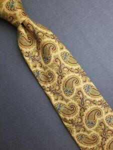Beautiful Brooks Brothers Makers Italian Silk Tie Golden Wheat Paisley Made USA