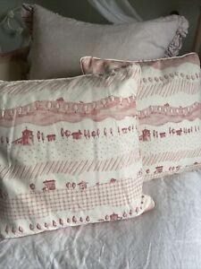 Pair Of Vanessa Arbuthnott Fabric Piped Pink Cushions