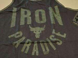 Under Armour Mens Project Rock Iron Paradise Graphic Tank Top Black Size XL
