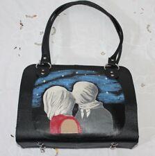 Borsa vera pelle nera fatta a mano handmade bags ricamata dipinta Magritte Italy