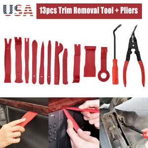 Trim Removal Pry Bar Panel Door Interior Clip Remover + Pliers Tool Kit US