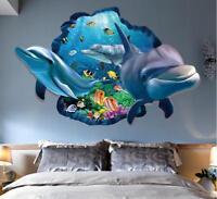 Huge Wall decal Sticker Ceiling Floor Dolphin 3D living room bedroom Bathroom