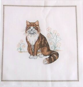 """Long Haired Brown Cat Quilting Crafting Sewing Panels 8"""" x 8"""" Cranston Print"""