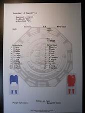 1966 FA Charity Shield Everton v Liverpool Matchsheet