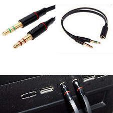 3.5mm 20cm 2 Male To Female Stereo Plug Audio Headset Mic Splitter Cable Adapter